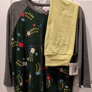 LuLaRoe XL 'Randy' NWT shirts & new chartreuse OS